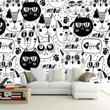 Custom wallpaper hand-painted starry sky cute cat child room background wall painting