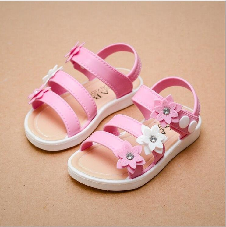 2019 New Summer Children Sandals for Girls Flowers Princess Shoes Kids Beach Soft Sandals Baby Toddler Shoes Pink Girls Sandals
