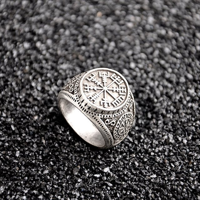 1 PCS Vintage Compass Viking Rune Finger Rings Nordic Runes Size 8 Biker Punk Odin Symbol For Women Men Gothic Jewelry Gift 3