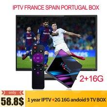 H96 max Iptv francais spain portugal 1 ano 2gb 16gb tv box a