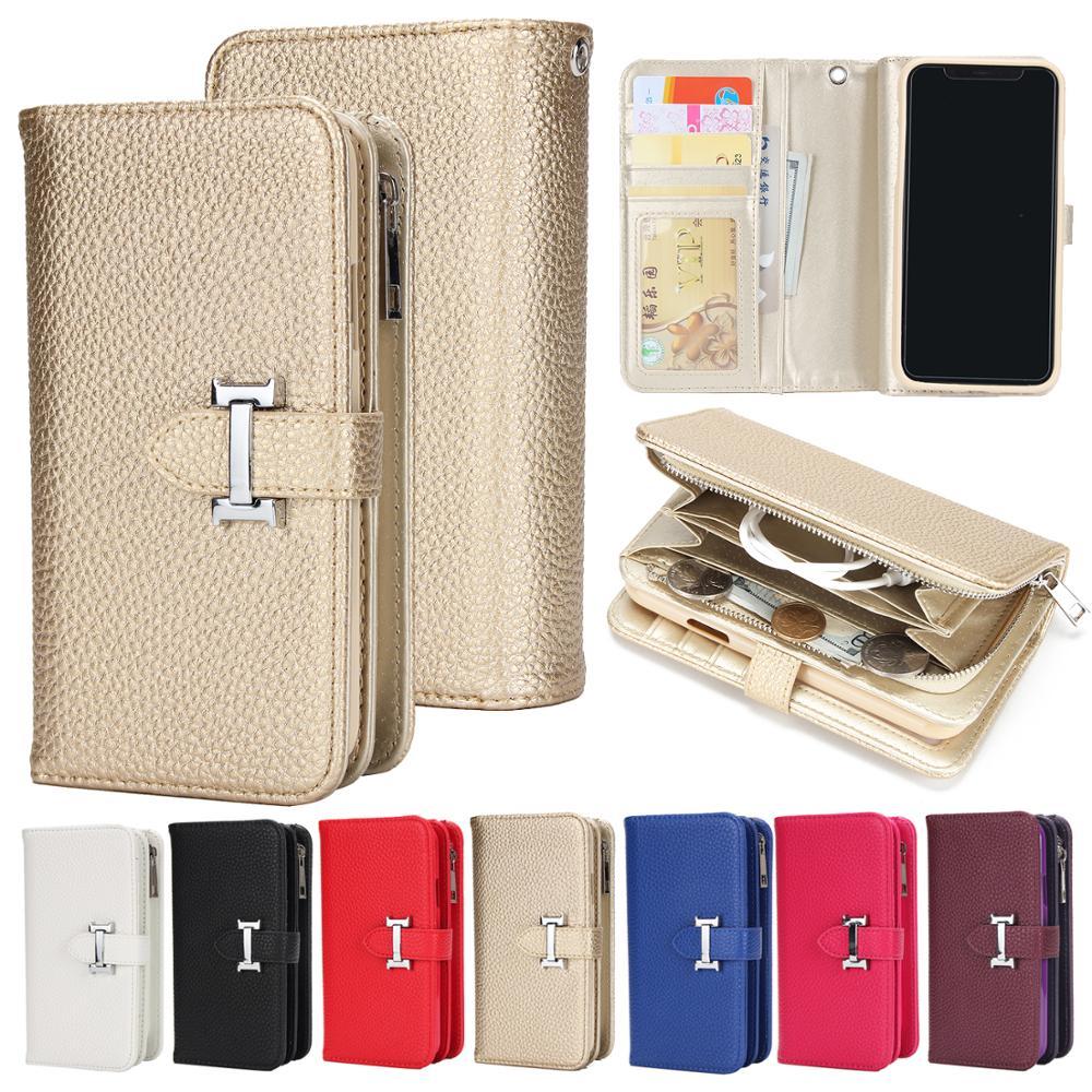 Abnehmbare Zipper Flip Leder Brieftasche Fall Für iPhone XS MAX XR 6 6S 7 Plus 8 X Multifunktions Handtasche fall Abdeckung