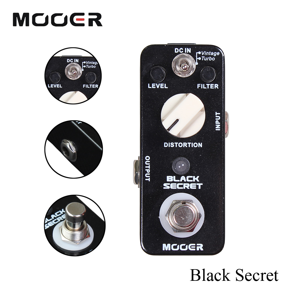 Mooer 2 Working Modes Effects True Bypass Micro Black Secret Distortion Guitar Effect Pedal Full Metal Shell mooer ensemble queen bass chorus effects effect pedal true bypass rate knob high quality components depth knob rich sound