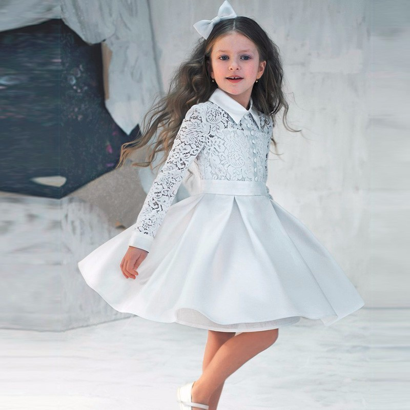 N615 Pure White Long Sleeve A-Line Chiffon   Flower     Girls     Dresses   Lace High Neck Knee Length First Communion   Dresses   For   Girls