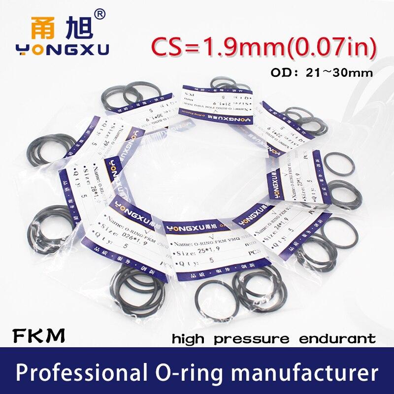 10 pièces/lot noir FKM fluor caoutchouc joints toriques CS1.9mm OD21/22/23/24/25/26/27/28/29/30*1.9mm anneaux joint joint détanchéité rondelle