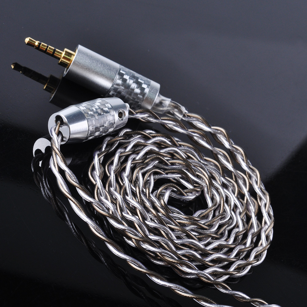 цена UPOCC aolizi 28AW 7N Single Crystal Copper Silver Plated Cable 2.5/3.5/4.4mm Balanced Cable With MMCX Connector For HQ10 HQ8