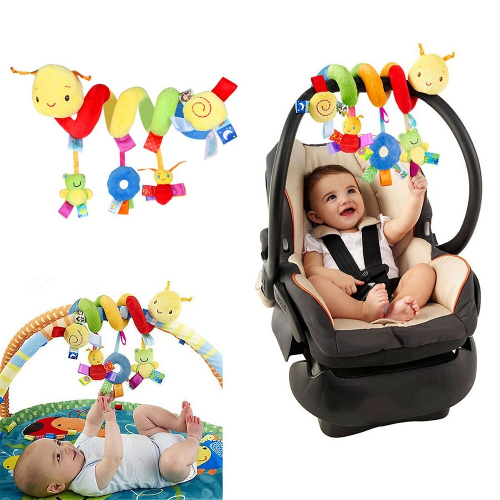 Infant Baby Crib Cot Pram Hanging Rattles Spiral Stroller Car Seat Toy With Ringing Bell Educational Sound Colorful Plush Toys In Mobiles
