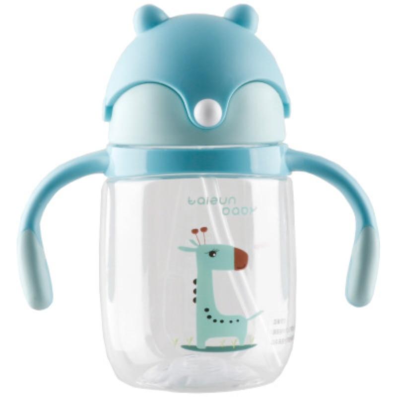 320ml Lovely Cartoon Kids Water Bottle With Straw Sippy Cup Leak Proof Kids Learning Traning Portable BPA Free Water Bottle in Water Bottles from Home Garden
