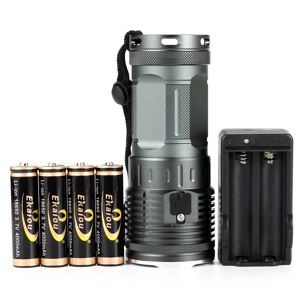 Купить с кэшбэком High lumens Led Flashlight 8x XM-L L2 Super Bright LED Torch Waterproof Camping Torch & 4x18650 batteries + Charger