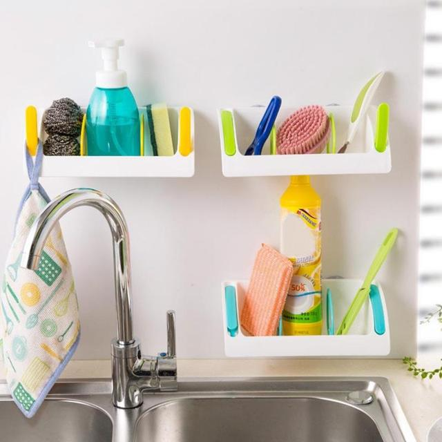 Kitchen Sink Storage Rack Multifunction Sponge Holder Wall Mounted Dishes  Drip Rack Bathroom Soap Dish Wall