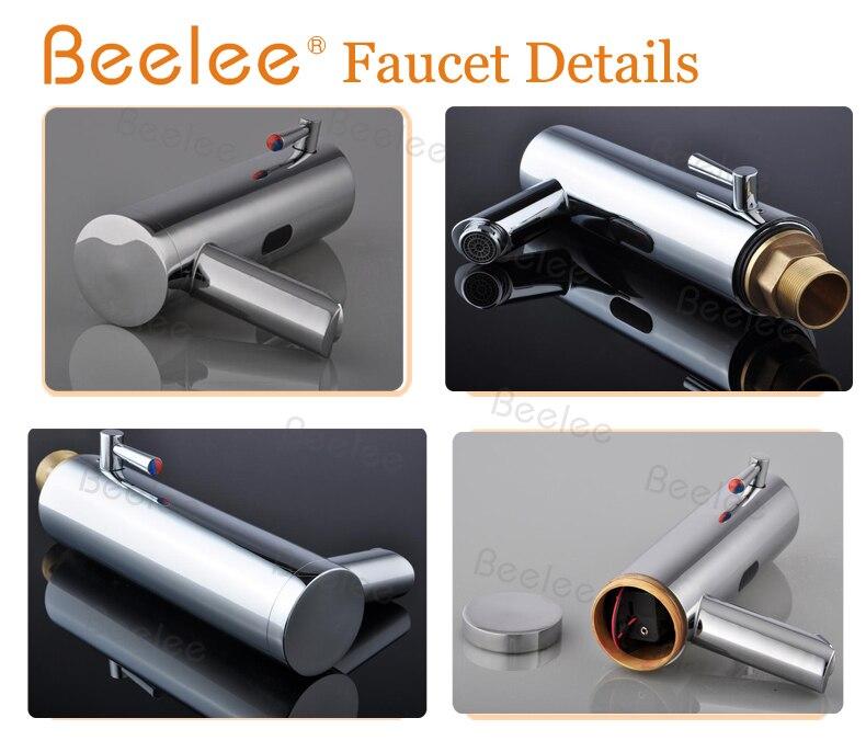 Beelee Contemporanea Ottone Mano libera Hot & Cold Miscelatore Automatico del Sensore Rubinetto di Lavaggio Bagno e Lavabo Rubinetto Cromato (QH0106A) - 3