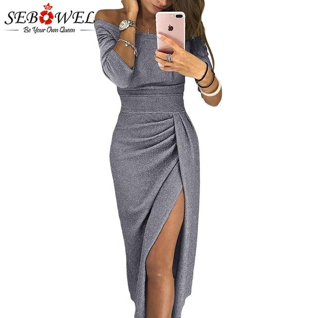 Sexy Metallic Glitter Off Shoulder Bodycon Party Dress Women Elegant Long  Sleeve Shiny Dress Lady Ruched Split Maxi Formal Dress a68dfe40bbd5