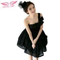 Black Short Style Single Shoulder Wedding Dress Small Evening Dress Dress Dinner Party Show Host Performance