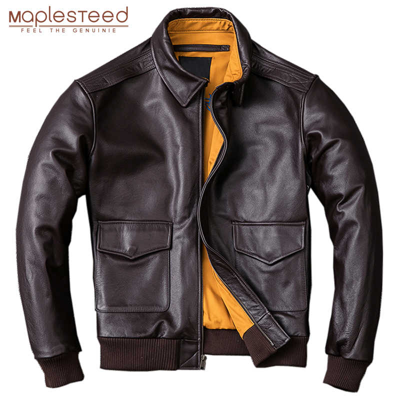 MAPLESTEED Männer Leder Jacke Military Pilot Jacken Air Force Flight A2 Jacke Schwarz Braun 100% Kalb Haut Mantel Herbst 4XL m154