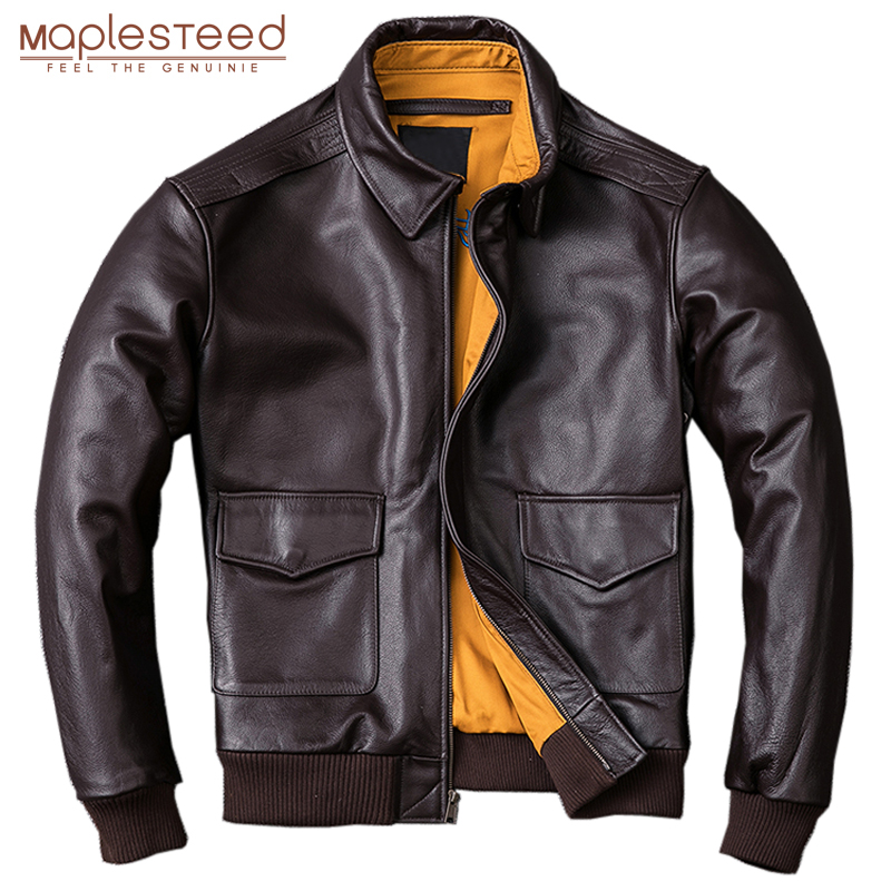 MAPLESTEED Men Leather Jacket Military Pilot Jackets Air Force Flight A2 Jacket Black Brown 100 Calf Innrech Market.com