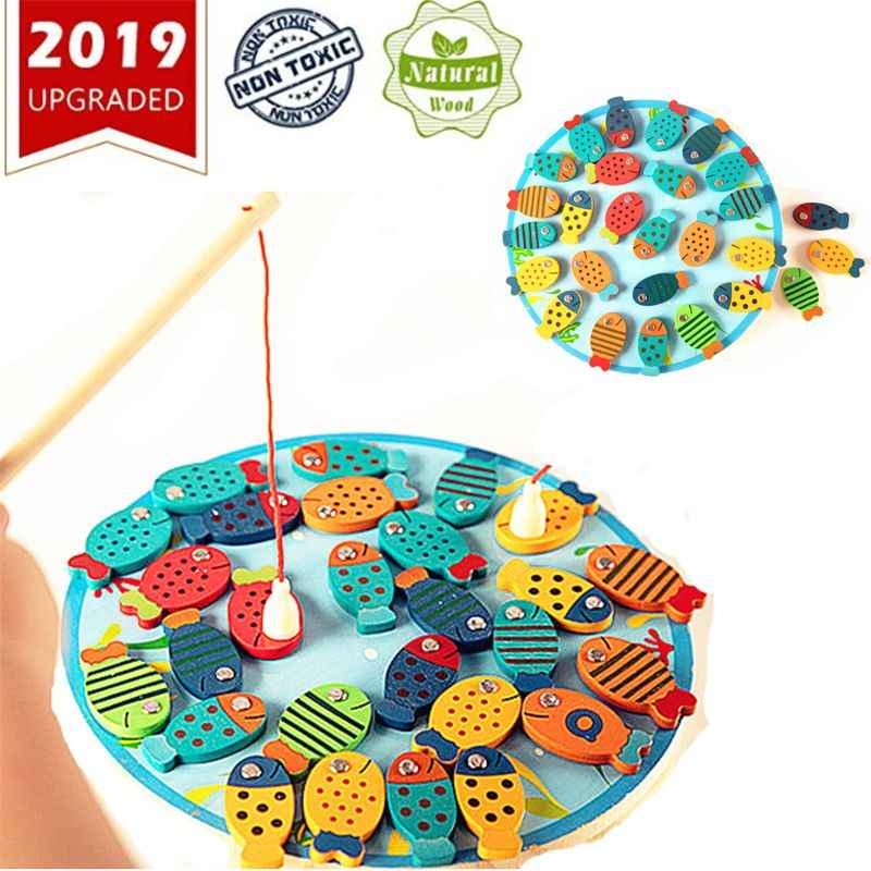 Magnetic Wooden Fishing Game Toy for Toddlers - Alphabet Fish Catching Counting Preschool Board Games Toys for 2 3 4 Year Old