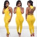 Желтый 2016 новая мода лето S-XL размер рукавов женщины комбинезон вернуться сексуальная клуб bodycon комбинезон элегантный повседневная комбинезоны SJ015