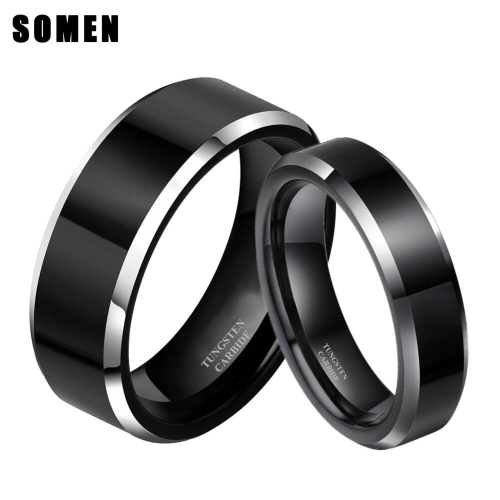 2 pçs 8mm & 6mm feminino preto anel de carboneto de tungstênio casamento banda promessa casais anéis conjunto aliança moda jóias
