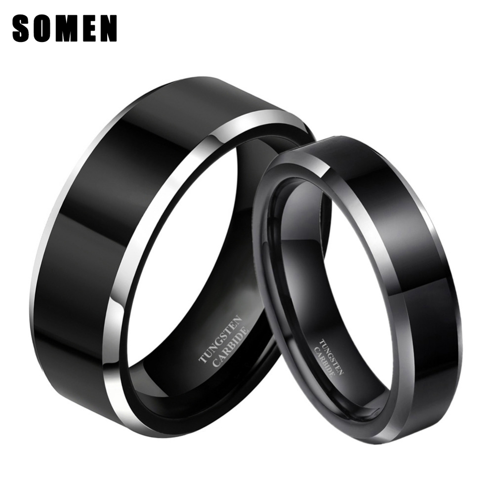 2pcs 8mm& 6mm Women Men Black Tungsten Carbide <font><b>Ring</b></font> Wedding Band Promise Marriage <font><b>Couples</b></font> <font><b>Rings</b></font> <font><b>set</b></font> Fashion alliance Jewelry image