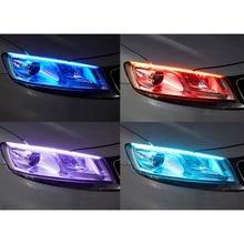 2шт Автомобильный светодиодный каплевидный свет ультра-тонкий двухцветный желтый стример света направляющие фары поворота декоративные огни