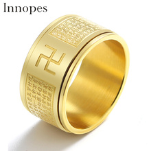 Innopes Religious gold  ring jewelry stainless steel Lettering luxury fashion vintage mens big