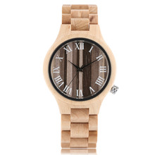 Ручной работы Для мужчин деревянные кварцевые наручные часы Мода Для мужчин кварцевые наручные часы в полоску Роман набора номера застежка браслета дерево Часы подарок