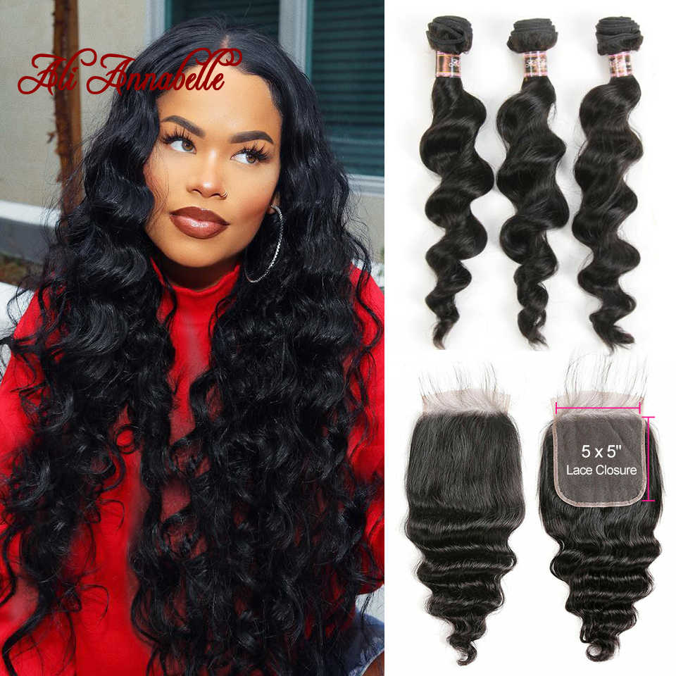 3 Bundles Peruvian Loose Wave Bundles With Closure 5*5 Lace Closure 4Pcs/Lot Human Hair Weave Bundles With Closure