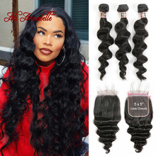 3 Bundles Peruvian Loose Wave Bundles With Closure 5*5 Lace Closure 4Pcs/Lot Human Hair Weave Bundles With Closure(China)