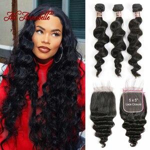 Image 1 - 3 Bundles Peruvian Loose Wave Bundles With Closure 5*5 Lace Closure 4Pcs/Lot Human Hair Weave Bundles With Closure