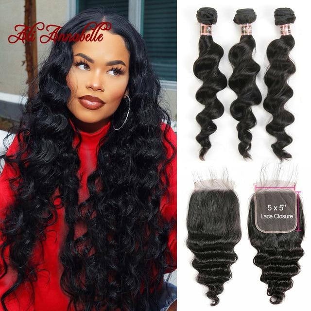3 Bundles Peruvian Loose Wave Bundles With Closure 5*5 Lace Closure 4Pcs/Lot Human Hair Weave Bundles With Closure