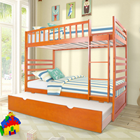 Solid Wood Twin Over Twin Bunk Bed with Trundle End Ladder in Oak Space Saving Bed Frame for Kids with Ladder and Safety Rail