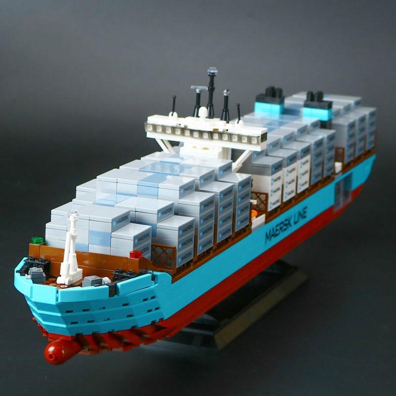 1518Pcs Technic Series The Maersk Cargo Container Ship Set Educational Lepins DIY Building Blocks Bricks Model Toys Figures Gift 22002 genuine technic series the maersk cargo container ship set 10241 building educational toys lepin