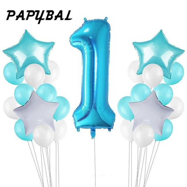 25pc 베이비 샤워 1 생일 풍선 블루 핑크 호일 풍선 아기 첫 번째 생일 장식 1 년 생일 아이 파티 장식