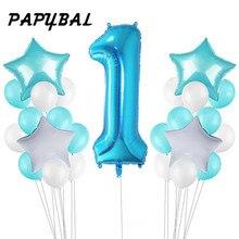 25pc 1st Balões De Aniversário Do Chuveiro de Bebê Azul Rosa Balões Folha Bebê Primeira Decoração De Aniversário de Um Ano do Aniversário Decoração Do Partido Dos Miúdos