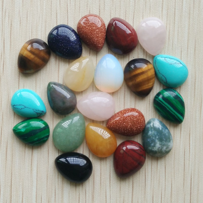 Free shipping 30pcs/lot Wholesale 12x16mm assorted natural stone teardrop CAB CABOCHON beads for DIY jewelry accessories