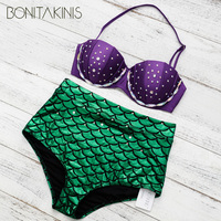 Bonitakinis Brand Crystal Swimsuit Mermaid Girl Royal Rhinestone Shine Two Piece Bikini Diamond Beauty Swimwear Cosplay
