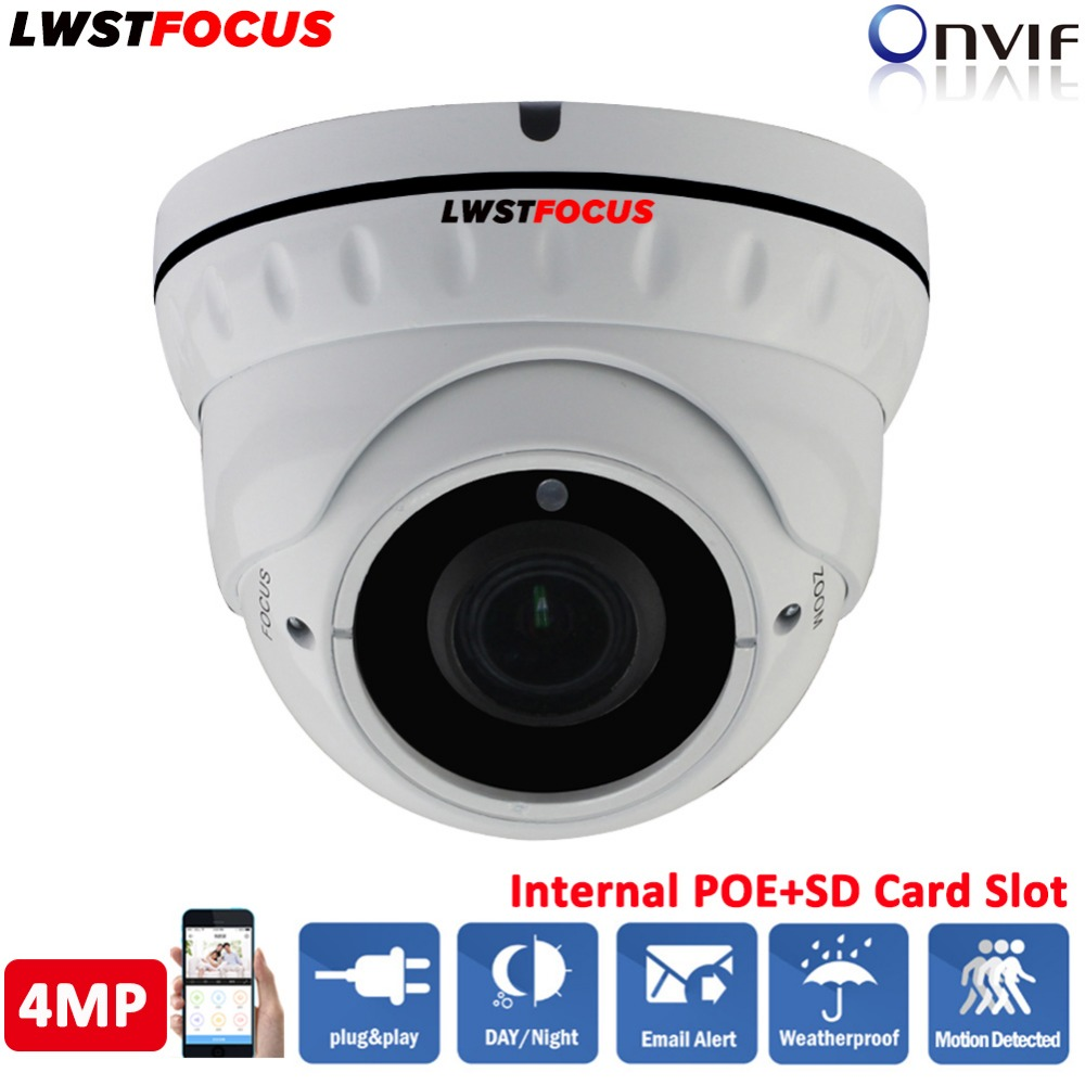 LWSTFOCUS 2.8mm ~12mm Varifocal Manual Zoom Lens Network camera 4MP IR 30M IP Camera POE Dome Outdoor Waterproof CCTV Camera h 265 264 ipc lwirdnts400s 4mp ip camera 2 8 12mm varifocal manual zoom lens 4mp ir 30m with sd card slot poe network camera