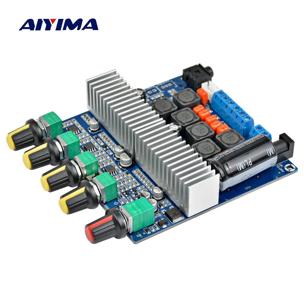 цены на Aiyima Assembled HIFI digital power amplifier TPA3116D2 2.1 high-power board 12-24V subwoofer bass board в интернет-магазинах