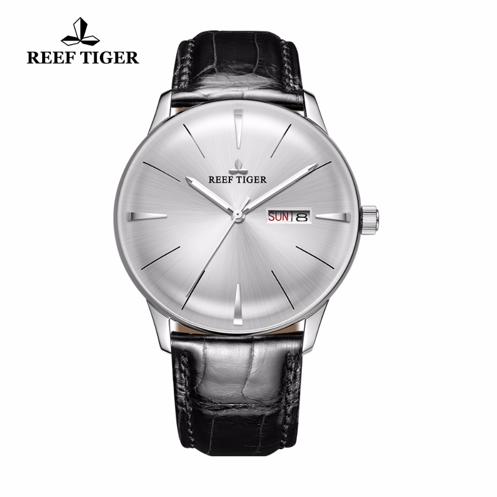 Reef Tiger/RT Classic Casual Watches with Date Day Steel Automatic Watches Convex Lens Genuine Leather Strap RGA8238 вьетнамки reef day prints palm real teal