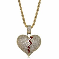 Lucky Sonny US Top Sale Full CZ Iced Out Broken Heart Necklace Hiphop Men Jewelry Gold Color Rapper Bling Pendants & Necklaces