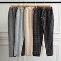 2017 New Summer Casual Loose Cotton Harem Pants Plus Size Plaid Capris Grid Black Pockets Lady Trousers Spring Loose Harem Pants