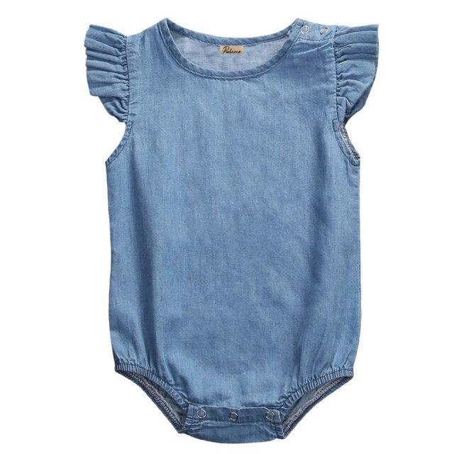 810a370ce36b Cute Newborn Infant Baby Girls Kids Denim Jeans Sleeveless Bodysuit ...