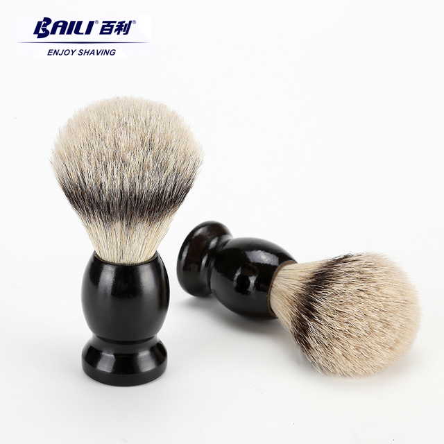 Бейли мокрый Кисточка для бритья волос животных щетиной для Для мужчин Борода Усы de двойные лезвия Предметы безопасности Бритвы прямо бритвы