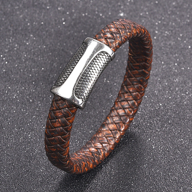 Men's Braided Leather Bracelet /w Stainless Steel Magnetic Clasp