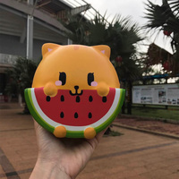 15CM Soft DIY Jumbo Rainbow Orange Watermelon Cat Squishy Phone Straps Decor Kid Fun Toy Cute