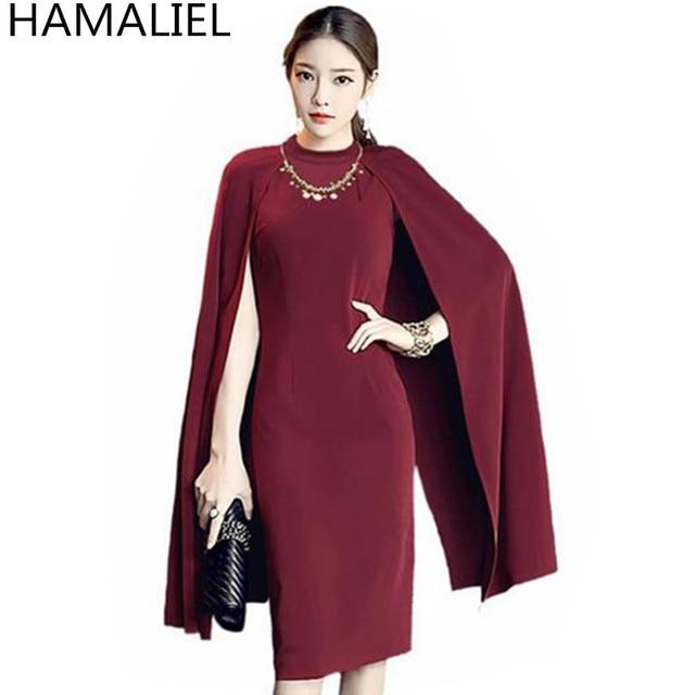 HAMALIEL de las mujeres de la moda vestido de fiesta de Otoño de 2018 vino  rojo 27c664c9efc3