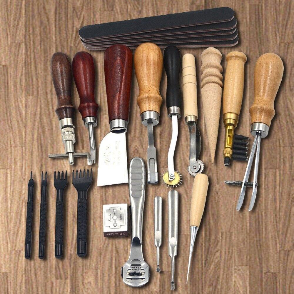 18 pièces artisanat bricolage outils à la main poinçon coupe-bordure Trench dispositif ceinture perforateur ensemble outils à main en cuir
