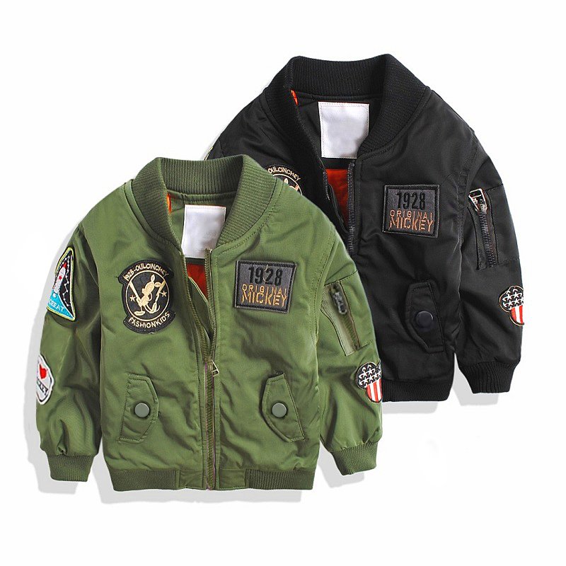Spring Autumn Jackets for Boy Coat Bomber Jacket Army Green Boy's Jacket Windbreaker Jacket Print Kids Children Jacket age 3-13