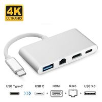 4 em 1 USB 3.1-Tipo c para HDMI + Ethernet Gigabit 3.0HUB USB-C RJ45 converter + USB divisor adaptador
