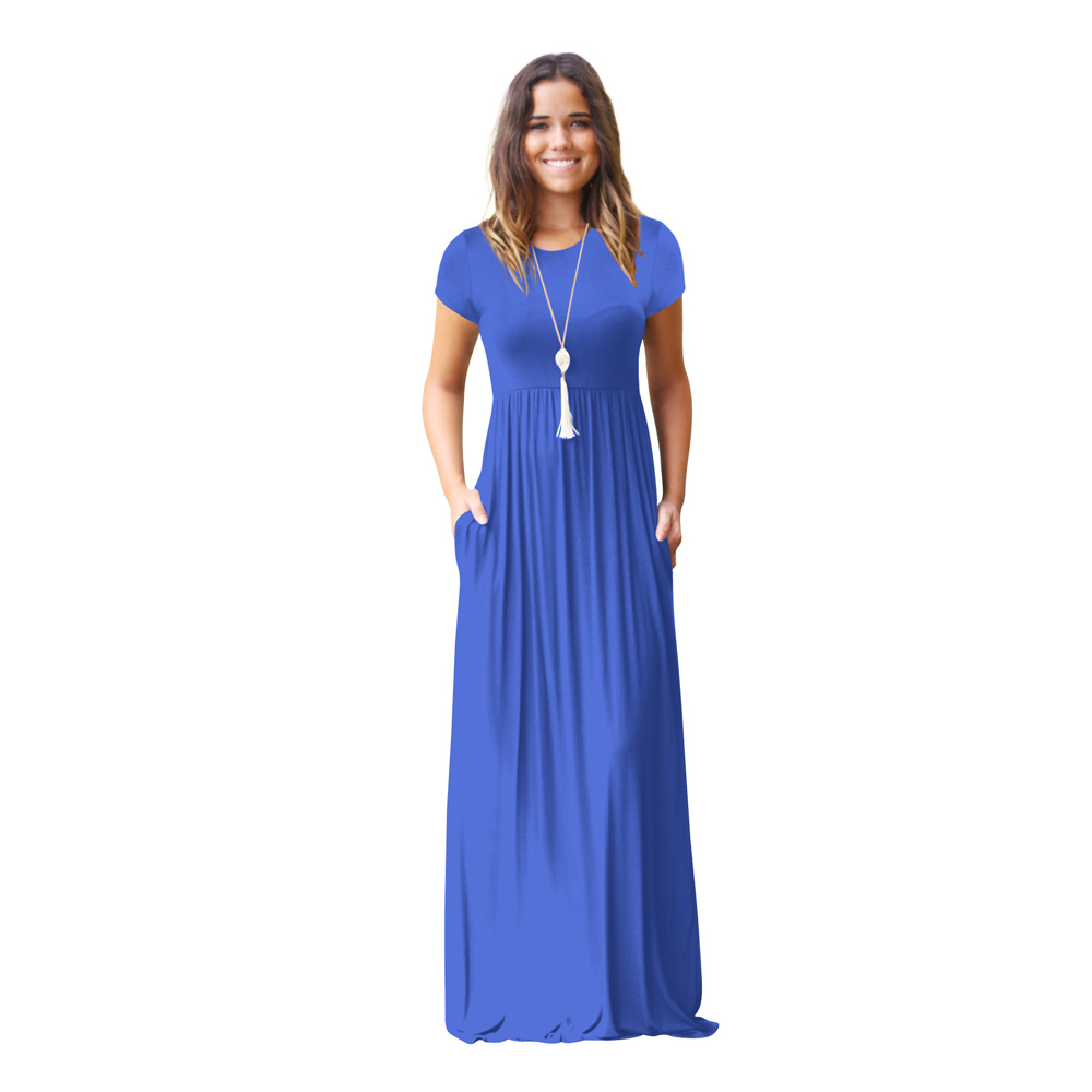 9 colors Promote Long Dress Women Short Sleeve Gown Casual Dress ...