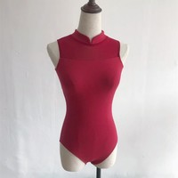 Stand Collar Leotard For Dance Black Red Ballet Leotards For Women Adult Gymnastics Leotard Bodysuit Tops